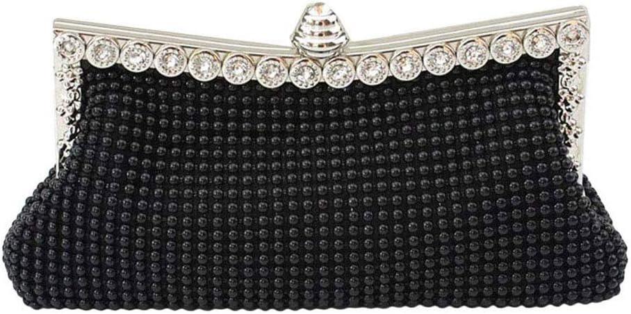 ZLACA Ladies Luxury Diamond Crystal Beaded Sequin Evening Bag Handbag Purse Bridal Party Bag (Color : Black, Size : One Size)