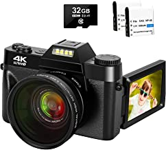4K Digital Camera 48MP Camera Vlogging Camera with YouTube 30FPS Video Camera Camcorder 16X Digital Zoom Vlog Camera with Flip Screen Camera with 32GB SD Card and 2 Batteries(Fixed Focus)