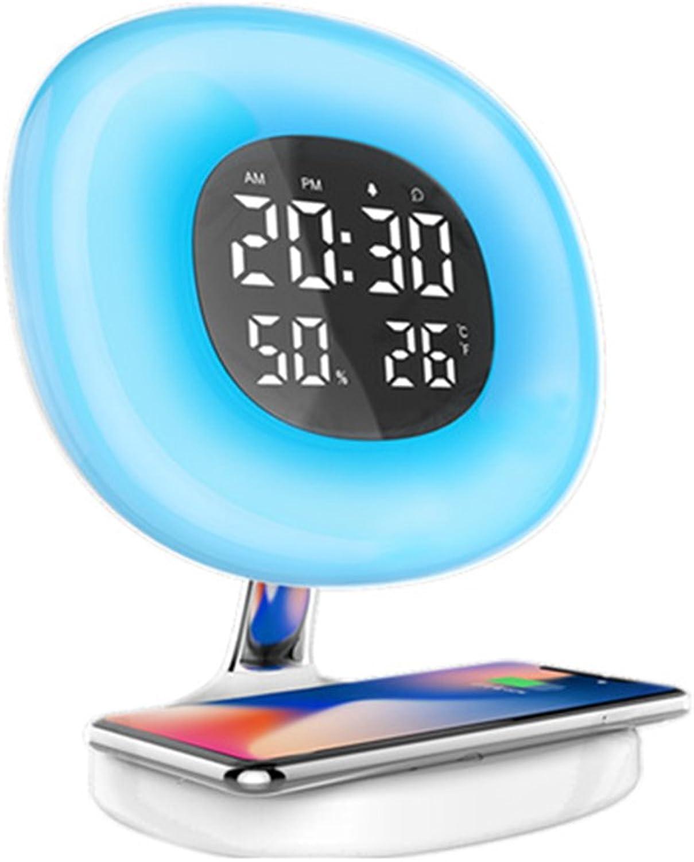 YU-UO Kabellose Lade LED 7 Farben Weckleuchte Digitaler Elektronischer Wecker