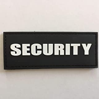 uuKen Security Tab Black and White Lettering Tactical PVC Patch with Hook Fastener Backing