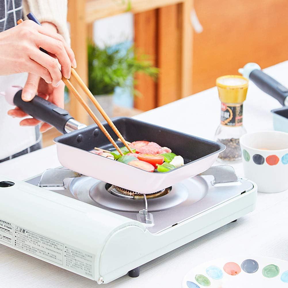 Mini Poêle à Frire Poêle Cuisine Japonaise avec Motif Poêle Antiadhésive, Carré Poele Takoyaki, Légumes, Oeufs, Steak, Barbecue,Bleu Pink