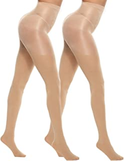 MANZI 2 Pairs 70 Denier Control Top Tights Stretch Run Resistant Opaque Support Tights for Women