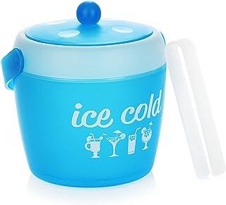 com-four® Seau à Glace avec Pince à glaçons, Seau à Glace en Plastique avec Couvercle et poignée, glacière légère pour la ...