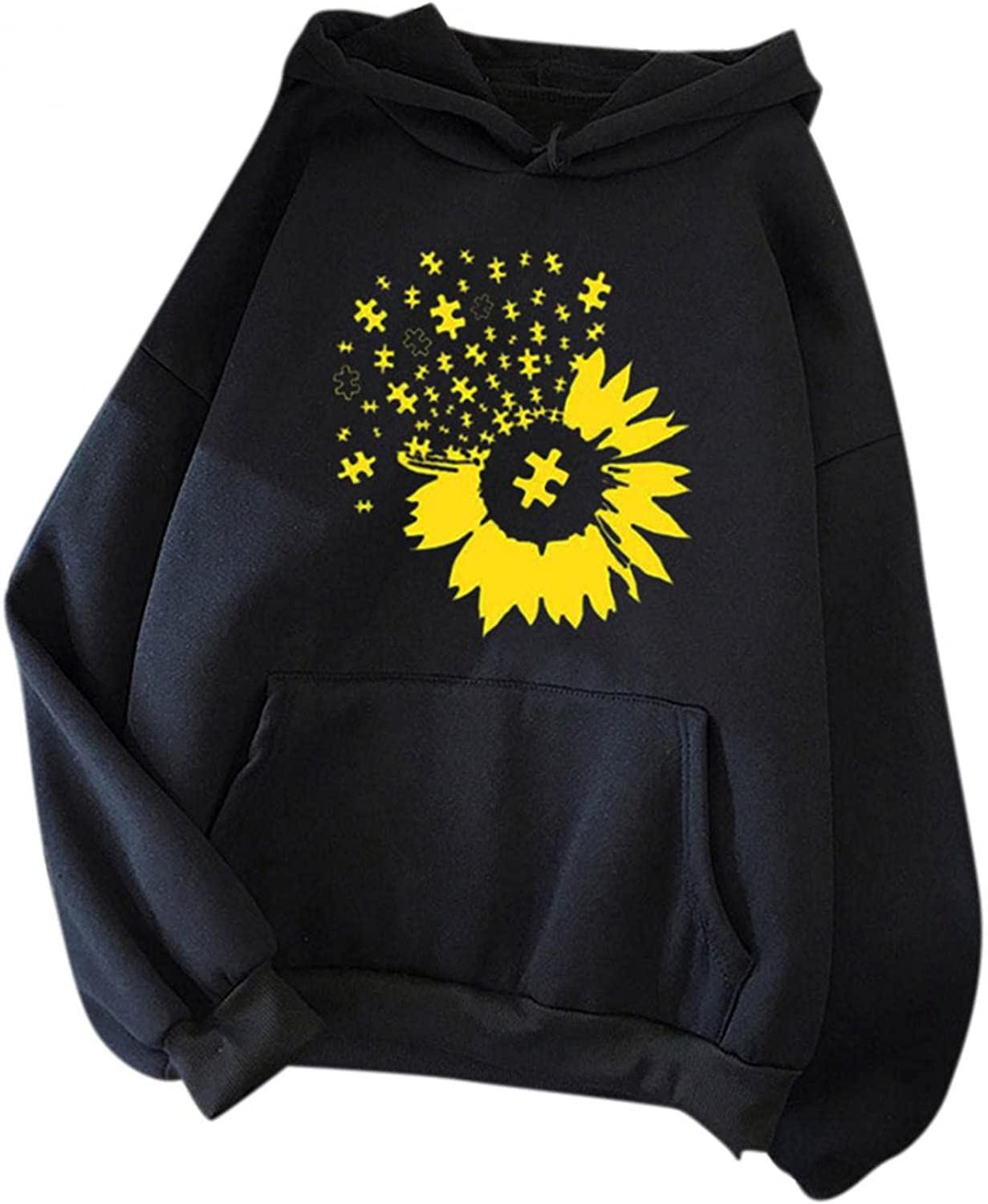 UOCUFY Hoodies for Women, Long Sleeve Pullover Hoodies Autumn and Winter Plus Size Womens Sweatshirts Cute Printing