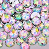 Xuccus JUNAO 6 8 10 12 14 16 18 20 25 30mm Large Crystal AB Rhinestone Flatback Round Acrylic Strass Non Sew Crystal Stone for Crafts - (Color: Crystal AB, Size: 30mm 50pcs)