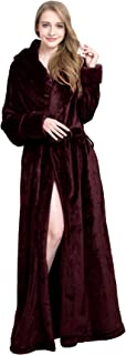 Extra Long Plush Fleece Robe Thicken Soft Warm Bathrobe
