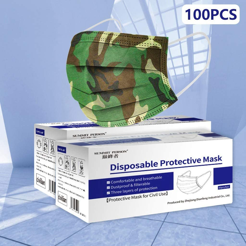 qiaoxiahe Adult Unisex Camouflage Disposable Industrial 3-Ply Design Face Protectings with Ear Loops Cup Breathable Family Cover Bandanas Fashion Protection 100 Pack Box 100PCS