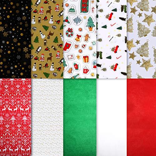 Naler 150 Hojas de Papel de Seda Navidad Papel de Colores para Manualidades Envolver Regalo Decoración (10 Estilos, 50x50cm)