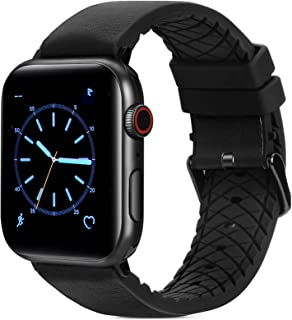 FITWORTH High End Hybrid Band Compatible with Apple Watch Band 42mm 44mm, Silicone + Genuine Leather, Simple, Neat & Sweat...