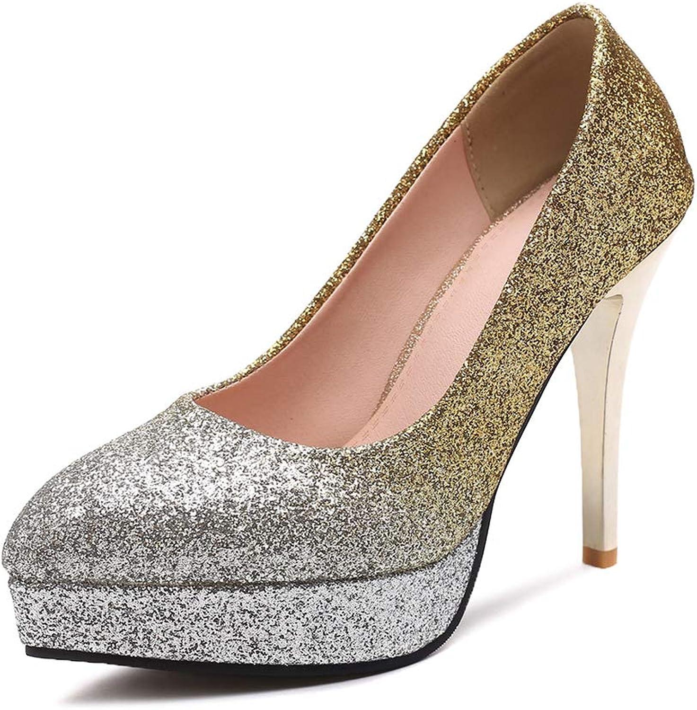 Damen Mode Glitzer High Heels Pumps mit Plateau Elegant Braut Hochzeit Schuhe,Damen Glitzer Pumps High Heels mit Stiletto Plateau Abend Abendschuhe Hochzeit,Gold,41EU