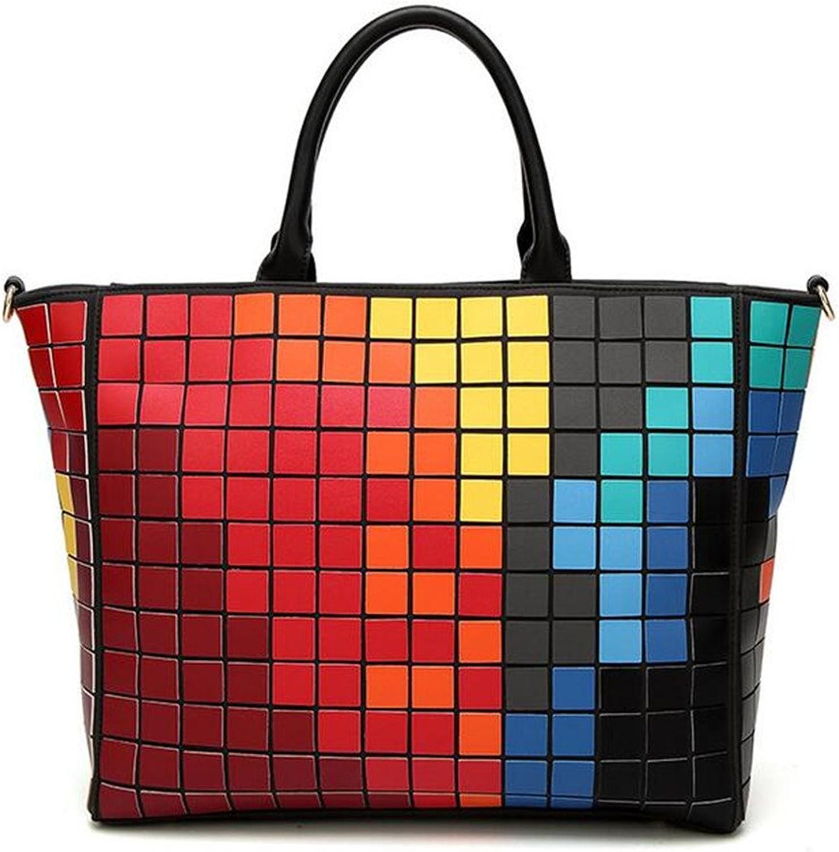 WomenBag Geometric Lattice Totes Super PU Square Mosaic color Handdbag HighCapacity Totes