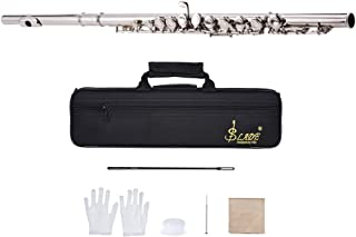 ammoon Concert Flute Silver Plated 16 Holes C Key Woodwind Instrument