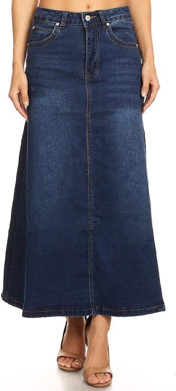 Women's Plus/Junior Size Mid Rise A-Line Long Jeans Maxi Denim Skirt
