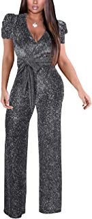 Abetteric Womens Britain Empire Waist Solid Colored OL Overalls Wide Leg Jumpsuit