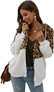 Ti caring Womens Casual Long Sleeve Coat Fashion Leopard Patchwork Zipper Hoodie Fleece Outerwear