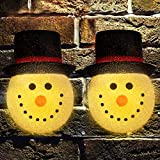 Apipi Pack of 2 Christmas Snowman Porch Light Covers- Waterproof Snowman Head Lamp Cover with Elastic Band Xmas Holiday Outdoor Light Shades for Winter Holiday Standard Porch Light Decoration