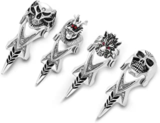 JOVIVI Men's Jewelry Double Loop Activity Ring Armor Shape Punk Style Ring,4pcs
