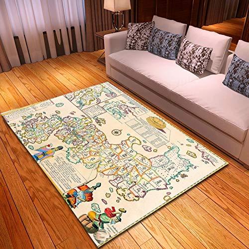 LGXINGLIyidian Alfombra Arte De Mapa Retro Creativo Decoración para El Hogar Impresa En 3D Alfombra Suave Antideslizante para Niños F1749H 120X180Cm