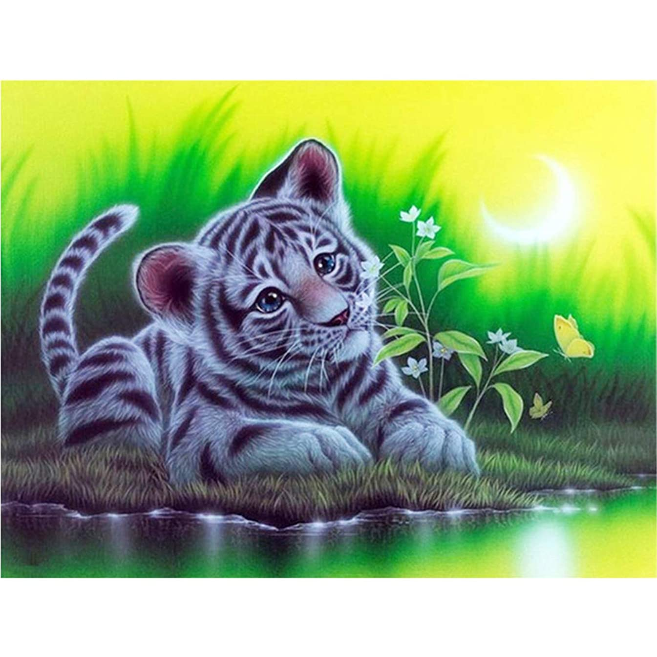 Full Drill DIY Square Diamond Painting by Number Kits, Cute Tiger Rhinestone Embroidery Cross Stitch Pictures Arts Craft for Home Wall Decor 11.8 x 15.8 inch