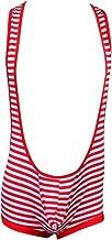iiniim Men's Cotton Striped Wrestling Singlet Mankini Bodysuit Underwear