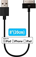 [Apple MFi Certified] HomeSpot 8 inches (20 Centimeters) 30 Pin Compatible USB Cable, Compatible with iPhone 4, iPhone 4S, iPad 1/2/3, iPod Touch, iPod Nano, 8 inch/20 cm (Black)