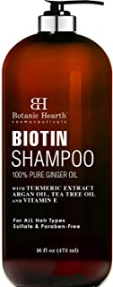 BOTANIC HEARTH Biotin Shampoo with Ginger Oil & Keratin - for Hair Loss and Thinning Hair - Promotes Hair Growth, Sulfate & Paraben Free, for Men and Women - 16 fl oz