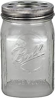 Open Bottom Mason Jar Glass Shade with 1-5/8-Inch Fitter Opening Lighting Lid (WM Quart Ball Jar, Clear)