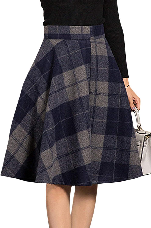 Flygo Women's Classic Plaid Checkered Flared Wool Skirt A-Line Tartan Pleated Winter Warm Skirts