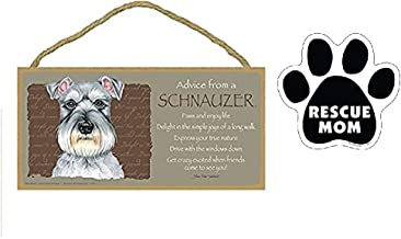 "5""x10"" Advice from a Schnauzer Wooden Plaque + Rescue Mom Paw Print Car Magnet Dog Lover Gift"