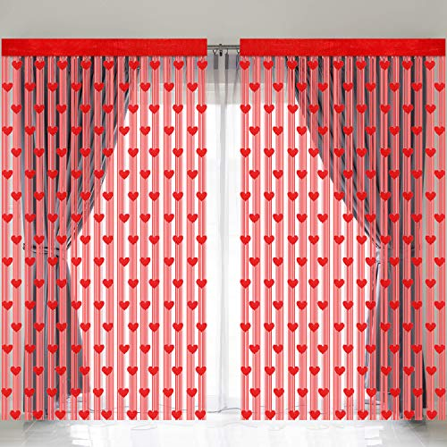 URATOT 4 Pieces Valentine's Day Window Curtains Romantic Red Hearts Shaped Lace Curtains Window for Valentine's Day Wedding Party Decorations