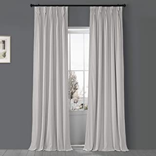 HPD Half Price Drapes VPCH-110602-84-FP Signature Pleated Blackout Velvet Curtain (1 Panel), 25 X 84, Porcelain White