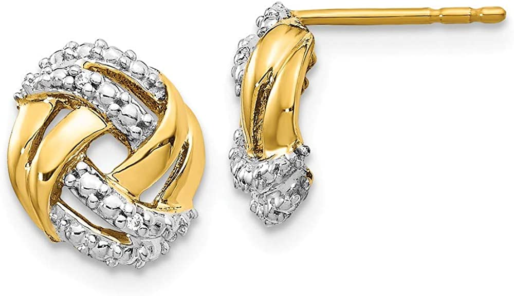 Solid 14k White and Yellow Gold Two Toned Diamond Accents Round Post Studs Earrings - 10mm x 9mm (.012 cttw.)