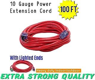 Century Contractor Grade 100 ft 10 Gauge Power Extension Cord 10/3 Plug,100 ft 10 Gauge Heavy Duty Indoor Outdoor SJTW Lighted Outlet Extension Cord America Style (100 ft 10 Gauge, red extension cord)