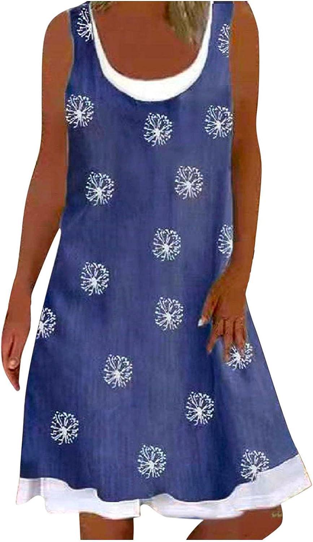 SoeHir Dresses for Ladies Summer Sleeveless U-Neck A-line Short Casual Printed Loose Dress