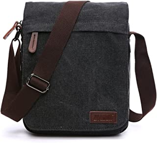 NANJUN Vintage Canvas Messenger Bag Shoulder Bags for Men Women(jb007-Black)