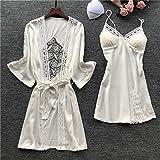 Conjunto de Albornoz para Mujer Pantalones Casuales de Encaje para Dormir Pijama Pijama de Manga Larga Albornoz Camisón con Almohadilla para el Pecho 4 XXL