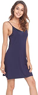 Women's Basic Spaghetti Strap Cami Slip Camisole Mini Sleep Dress S-4X