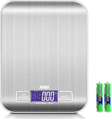 Báscula digital de cocina , ORIA báscula de cocción, 5 kg Escala de alimentos, 0.05 oz / 1 g, báscula de alimentos de alta precisión, 6 unidades, pantalla LCD retroiluminada, tara, función de apagado automático, acero inoxidable
