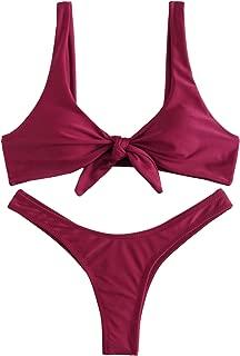 Women's Sexy Bikini Swimsuit Plaid Print Tie Knot Front Thong Bottom Swimwear Set