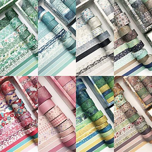 Haibinsuo Washi Tape Set De 12 Rollos, Washi Japanese Decorativo Escriturable Vintage Sticker Gift, Masking Tape Sets para Manualidades, Niños, álbumes De Recortes, Envoltura De Regal Pista Azul