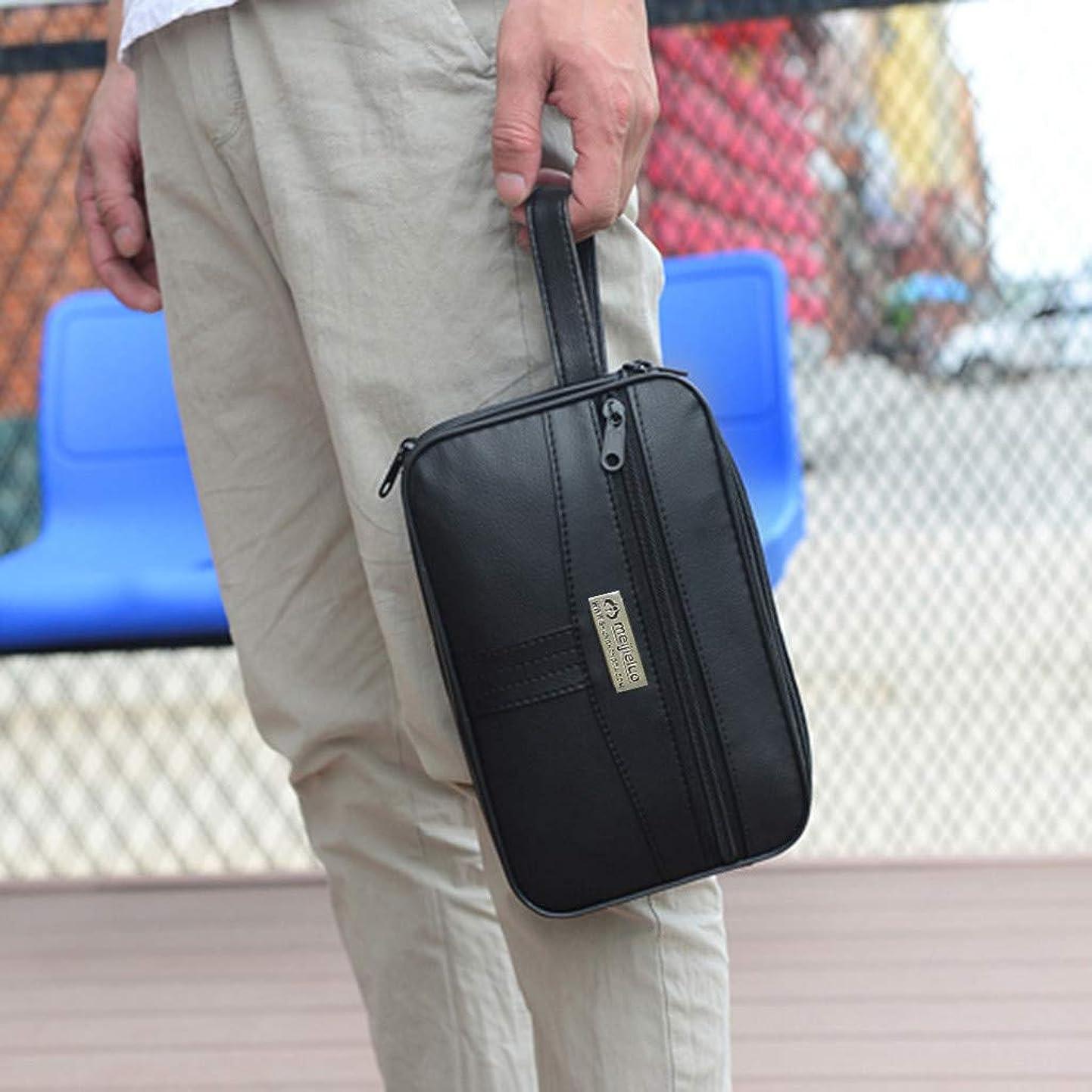 計算可能わずかにパトワメンズクラッチバッグ財布カードパッケージ メンズカジュアルソリッド多機能ハンドバッグカジュアルトートジッパーバッグ財布カードバッグ (ブラック)