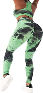 Womens Tie-Dye Workout Sets 2PC Scrunch Butt Lifting Printed Yoga Leggings with Sports Bra Gym Clothes(Green,S)