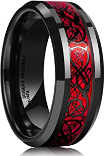 Dragon Men's 8mm Red Carbon Fiber Black Celtic Dragon...