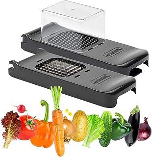 ALLIGATOR - Hachoir 2 en 1 Black Edition - Coupe-Légumes en ABS garanti Sans BPA - 2 Couteaux : 6 x 6 mm et12x12 mm - Coup...