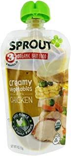 Sprout - Organic Baby Food Stage 3 8 Months Creamy Vegetables with Chicken - 4 oz. (Pack of 6)