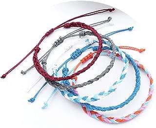 The Belcher's 5pcs/Set Handmade Wrap Friendship Braided Bracelet Set Colorful Wrist Cord Adjustable Woven Waterproof for Women Girls Boho Bohemian Jewelry
