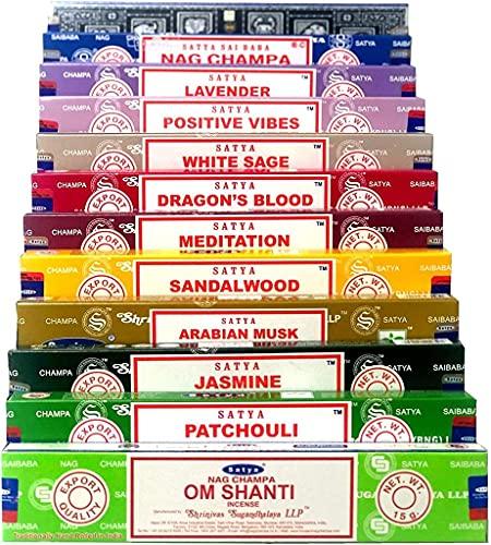 Satya Nag Champa Om Shanti Dharma Incense set C 12x15gram includes: Nag Champa, Superhit, Om Shanti