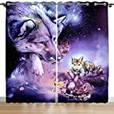 SXCHEN Blackout Curtains 2 Panels Grommet Curtains for Bedroom Purple Galaxy Wolf Wolves W42 x L63 Inch