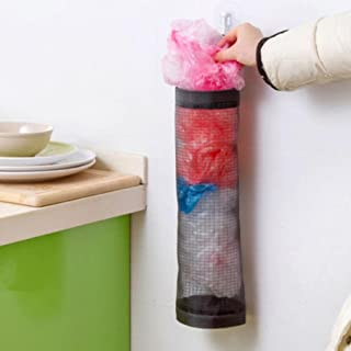 SAQIMA Home Grocery Storage Bag Holder Wall Mount Storage Dispenser Plastic Kitchen Storage Organizer (Black)