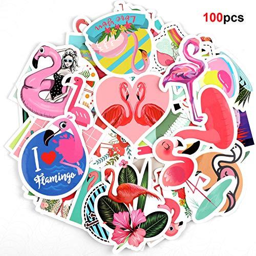 Howaf Vinyl Graffiti Flamingo Rosa Aufkleber Decals, 100pcs Wasserdicht Aufkleber Sticker Pack für Auto Motorrad Laptop Skateboard Fahrrad Koffer Notebook Gitarre Gepäck Snowboard Bomb